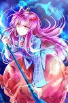 1girl bow expressionless fox_mask hata_no_kokoro kutsuki_kai long_hair mask naginata pink_eyes pink_hair plaid plaid_shirt polearm shirt skirt touhou weapon