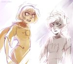 2girls black_hair black_lipstick blonde_hair death dissolving fangs grey_skin hairband homestuck hood horns kanaya_maryam lipstick makeup multiple_girls rose_lalonde sharp_teeth short_hair spoilers sunshineikimaru tears violet_eyes yellow_sclera