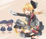 4girls :d ^_^ anchor anchor_hair_ornament bangs bare_shoulders bismarck_(kantai_collection) black_legwear black_skirt blonde_hair blue_dress blue_eyes blunt_bangs blush brown_hair chibi closed_eyes detached_sleeves dress gloves hand_on_another's_shoulder hat hat_over_one_eye hat_removed headwear_removed iron_cross kantai_collection long_hair long_sleeves microskirt military military_hat military_uniform multiple_girls neckerchief open_mouth peaked_cap piggyback pleated_skirt prinz_eugen_(kantai_collection) rinrin_(927413) running sailor_collar sailor_dress sailor_hat short_hair skirt smile thigh-highs trembling twintails uniform white_gloves z1_leberecht_maass_(kantai_collection) z3_max_schultz_(kantai_collection)