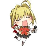 1girl ahoge blonde_hair boots bow chibi closed_eyes fate/extra fate_(series) hair_ribbon hanabana_tsubomi lowres microphone open_mouth ribbon saber_extra school_uniform skirt solo vest white_background