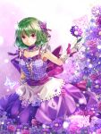 1girl alternate_costume alternate_eye_color arms_at_sides bare_shoulders butterfly butterfly_hair_ornament collarbone dress field flower flower_field gloves green_hair hair_ornament highres kazami_yuuka looking_at_viewer plaid plaid_shirt purple_dress purple_rose ribbon rose shironeko_yuuki short_hair solo touhou violet_eyes white_gloves