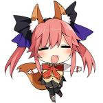 1girl animal_ears bow breasts caster_(fate/extra) chibi cleavage closed_eyes fate/extra fate_(series) fox_ears fox_tail hair_ribbon hanabana_tsubomi lowres pink_hair ribbon school_uniform skirt smile solo tail twintails vest white_background