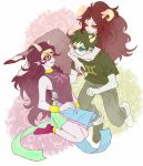 1boy 2girls 3d_glasses aradia_megido black_hair fangs feferi_peixes glasses goggles grey_skin homestuck horns hug hug_from_behind jewelry lipstick long_hair makeup multiple_girls necklace red_eyes sharp_teeth short_hair skirt smile sollux_captor sumssang violet_eyes yellow_sclera