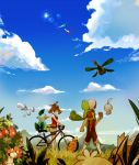 1boy 1girl bicycle bike_shorts blue_sky brown_hair carrying_over_shoulder castform clouds fanny_pack from_behind gorosuke_(my_boy) hair_ribbon haruka_(pokemon) haruka_(pokemon)_(remake) hat jacket latias latios marshtomp pokemon pokemon_(creature) pokemon_(game) pokemon_oras ribbon roselia short_shorts shorts shroomish sky sleeveless sleeveless_shirt sun swablu torchic treecko tropius two_side_up wurmple yuuki_(pokemon) yuuki_(pokemon)_(remake) zigzagoon