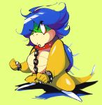 blue_hair chain collar ludwig_von_koopa monoka short_hair simple_background solo super_mario_bros.