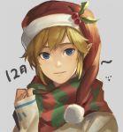 blonde_hair blue_eyes hat link mimme_(haenakk7) pointy_ears santa_hat scarf skyward_sword smile the_legend_of_zelda