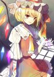 1girl bandages blonde_hair blood flandre_scarlet hanabana_tsubomi hat highres mob_cap open_mouth red_eyes ribbon short_hair side_ponytail smile solo touhou window_shade wings