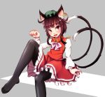 1girl animal_ears black_legwear bow brown_eyes brown_hair cat_ears cat_tail chen dress ear_piercing fang highres jewelry leg_up long_sleeves mob_cap multiple_tails open_mouth pantyhose paw_pose piercing red_dress shirt single_earring sitting sitting_on_lap sitting_on_person smile solo tail tosi touhou