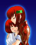 armor blush closed_eyes fire_emblem fire_emblem:_monshou_no_nazo fire_emblem_mystery_of_the_emblem headband hug maria_(fire_emblem) minerva_(fire_emblem) red_hair redhead short_hair siblings sisters smile