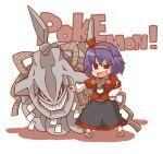 gurageida nintendo pokemon purple_hair red_eyes rope sandals short_hair steelix touhou yasaka_kanako