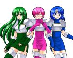 arm_holding armor blue_eyes blue_hair blush boots dress est fingerless_gloves fire_emblem fire_emblem:_monshou_no_nazo fire_emblem_mystery_of_the_emblem gloves green_eyes green_hair headband katua long_hair open_mouth paola pegasus_knight pink_hair short_hair siblings sisters smile thigh-highs thigh_boots thighhighs