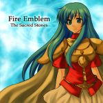 armor blue_eyes blue_hair cape eirika fire_emblem fire_emblem:_seima_no_kouseki fire_emblem_sacred_stones long_hair skirt smile title_drop xvxxv