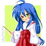 :3 blue_hair blush gohei green_eyes izumi_konata japanese_clothes long_hair lucky_star miko rika-tan_(artist) wink