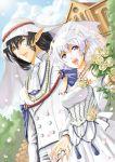bridal_veil bride couple dress elf fantasy flower horns marriage original pointy_ears rose short_hair veil wedding wedding_dress white_hair yuu_(yuyukaikan)