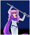 :q blush fire_emblem fire_emblem:_rekka_no_ken fire_emblem_blazing_sword licking_lips long_hair pink_hair purple_eyes scarf serra staff tongue twintails violet_eyes xvxxv