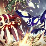 battle bukurote claws crack dragon fins flying glowing groudon ground kyogre mega_rayquaza molten_rock monster no_humans omega_symbol orange_eyes pokemon pokemon_(creature) pokemon_(game) pokemon_oras primal_groudon primal_kyogre rayquaza sharp_teeth spikes water whiskers yellow_eyes