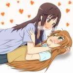 2girls brown_eyes brown_hair girl_on_top green_eyes highres ichijou_hotaru koshigaya_komari long_hair looking_at_another multiple_girls non_non_biyori school_uniform uta_(saikyouno-gesuyarou) yuri