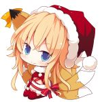 1girl animal_ears beni_shake blonde_hair blue_eyes chibi christmas copyright_request fox_ears fox_tail hat long_hair looking_at_viewer red_legwear santa_hat simple_background sitting smile solo tail thigh-highs white_background zettai_ryouiki