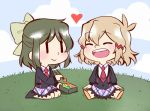 2girls ange blush brown_hair food hair_ornament kohinata_miku multiple_girls necktie open_mouth ribbon school_uniform senki_zesshou_symphogear short_hair sitting skirt smile tachibana_hibiki_(symphogear) tagme yuri