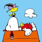 animalization ascot bird chamupei charles_schulz_(style) closed_eyes detached_sleeves dog hakurei_reimu hakurei_reimu_(cosplay) hat kirisame_marisa kirisame_marisa_(cosplay) lying no_humans peanuts sitting sitting_on_person sleeping snoopy touhou witch_hat woodstock