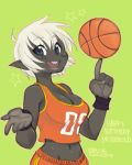 1girl balancing ball basketball basketball_uniform blue_eyes blush_stickers breasts buck_teeth claude_(demon_mages) cleavage crop_top dark_elf demon_mages elf green_background grey_skin jason_robinson midriff navel pointy_ears short_hair solo sportswear white_hair wristband