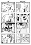 3girls 4koma bee bird cage comic crow hoodie monochrome multiple_girls necktie open_mouth original page_number pageratta polearm translated trident twintails weapon