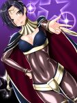 1girl :p anzu_(onelelee) black_hair blush bodysuit bracelet breasts bridal_gauntlets cape circlet cleavage cleavage_cutout cosplay covered_navel dutch_angle fire_emblem fire_emblem:_kakusei hand_on_hip highres jewelry kobayakawa_rinko love_plus outstretched_hand red_eyes short_hair skin_tight solo star tharja tharja_(cosplay) tongue tongue_out