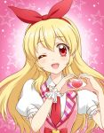 1girl ;d aikatsu! blonde_hair hair_ribbon heart heart_hands hoshimiya_ichigo kuroda_akimi long_hair looking_at_viewer one_eye_closed open_mouth red_eyes ribbon smile solo star