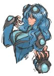 1girl blue_hair breasts bust fingerless_gloves gloves goggles goggles_on_head highres large_breasts long_hair nameo_(judgemasterkou) personification pokemon red_eyes seismitoad solo