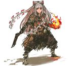 1girl bow dark_souls fire fujiwara_no_mokou full_body hair_bow highres long_hair nameo_(judgemasterkou) red_eyes silver_hair solo souls_(from_software) touhou weapon
