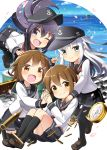 4girls akatsuki_(kantai_collection) barrel bell_(oppore_coppore) black_hair black_legwear blue_sky brown_eyes brown_hair clouds compass_(instrument) fang grey_eyes hair_ornament hairclip hat hibiki_(kantai_collection) highres ikazuchi_(kantai_collection) inazuma_(kantai_collection) kantai_collection long_hair long_sleeves multiple_girls neckerchief ocean one_eye_closed petals sailor_hat school_uniform serafuku shell_casing shirt silver_hair sitting skirt sky smile sparkle treasure_chest v very_long_hair