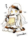 1girl akaza box gift gift_box hat kantai_collection looking_at_viewer mittens monochrome northern_ocean_hime object_hug santa_costume santa_hat shaking_head sitting solo spot_color translated wariza yellow_eyes