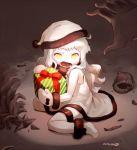 1girl box christmas gift gift_box hands hat kantai_collection mittens nagian northern_ocean_hime object_hug orange_eyes santa_boots santa_costume santa_hat shinkaisei-kan tears white_hair