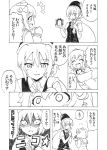 2girls angry blush comic gloves hair_ornament hat headgear kantai_collection monochrome multiple_girls nome_(nnoommee) open_mouth ponytail ribbon sailor_dress santa_hat school_uniform serafuku shiranui_(kantai_collection) short_hair skirt smile translated yukikaze_(kantai_collection)