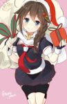 1girl black_gloves blush braid brown_hair fingerless_gloves gift gloves hair_flaps hair_ornament hat jpeg_artifacts kantai_collection long_hair looking_at_viewer note_(aoiro_clip) over_shoulder pink_background sack santa_hat scarf shigure_(kantai_collection) single_braid skirt smile solo the_yuudachi-like_creature twitter_username