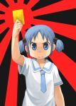 blue_eyes blue_hair card hair_cubes hair_ornament naganohara_mio nichijou nishimura_(prism_engine) school_uniform short_hair short_twintails twintails