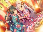 2girls :d :t brown_eyes brown_hair daruma_doll flower hair_flower hair_ornament hairband japanese_clothes kantai_collection kimono lamp lightbulb long_hair multiple_girls obi open_mouth sash shoukaku_(kantai_collection) silver_hair smile takoyaki tousaki_umiko twintails zuikaku_(kantai_collection)