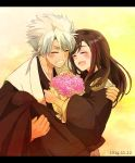 1boy 1girl bleach blush bouquet brown_hair carrying closed_eyes couple dated flower haori happy hetero hinamori_momo hitsugaya_toushirou japanese_clothes long_hair princess_carry short_hair smile taichou_haori tama-chan_(momomomijisakura) white_hair