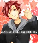 1boy brown_eyes gundam gundam_build_fighters gundam_build_fighters_try hoodie kamiki_sekai male redhead s_dmrng school_uniform solo