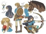 1boy aiming apple arrow blonde_hair blue_eyes boots bow_(weapon) check_translation collage earrings eating fingerless_gloves food fruit gloves hood horse jewelry knee_boots korean link mimme_(haenakk7) parachute pointy_ears quiver shield solo the_legend_of_zelda translation_request vambraces weapon zelda_wii_u