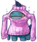 cleavage_cutout expressionless jaco marshtomp open-chest_sweater outline pokemon ribbed_sweater simple_background solo sweater turtleneck wardrobe_error white_background you're_doing_it_wrong