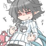 1girl asymmetrical_wings black_hair hole_in_chest houjuu_nue kureha_mitsushige open-chest_sweater red_eyes ribbed_sweater short_hair simple_background solo sweater tears too_literal touhou turtleneck white_background wings you're_doing_it_wrong