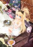 1girl absurdres bangs bare_shoulders blonde_hair blue_eyes bottle bow breasts bucket card cherry_blossoms cleavage collarbone covering covering_breasts cup dango food from_above hair_bow half_updo highres holding holding_card incense katori_buta kikimi long_hair looking_at_viewer looking_back naked_towel official_art onsen original paper plate sake_bottle sitting smile soaking_feet solo souseiki_aster_gate tea towel tree_branch wagashi water wind_chime