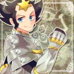 1boy armor black_hair blue_eyes elite_four flipped_hair full_armor gampi_(pokemon) gauntlets pauldrons plate_armor pohe pokemon pokemon_(game) pokemon_xy short_hair sideburns solo star