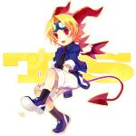 blonde_hair demon_tail fang goggles highres horns original red_eyes renta solo tail trickster wings