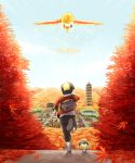 1boy autumn baseball_cap cyndaquil gold_(pokemon) hat ho-oh koma_yoichi nature nintendo pokemon pokemon_(creature) pokemon_(game) pokemon_gsc running sky tower translated yoichi_koma