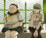 brown_hair fat food freckles grey_hair juice_box kazuki_(kazu-king) kazuki_(pixiv300776) narukami_yuu obento obentou ohtani_hanako ootani_hanako persona persona_4 school_uniform serafuku seta_souji short_hair