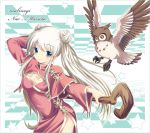 animal blue_eyes cane china_dress chinadress chinese_clothes long_hair mabinogi nao owl sisco smile twintails white_hair wings