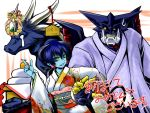 arioch_(shinrabanshou) arm_grab astaroth astaroth_(shinrabanshou) black_sclera blue_hair blue_skin character_request demon_girl earrings horns inusurvivor japanese_clothes jewelry kimono new_year shinrabanshou yellow_eyes