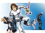 brown_hair buruma character_request height_difference inusurvivor k' kagami_shinnosuke king_of_fighters last_blade len long_hair m.u.g.e.n melty_blood mugen_(game) red_eyes short_hair size_difference snk sword tsukihime type-moon weapon white_len